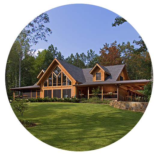 Large a-frame log home with front windows - Outlast® CTA Products