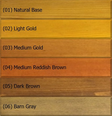Color chart for wood in 6 colors - Outlast® CTA Products